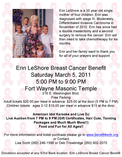 Erin LeShore Breast Cancer Benefit